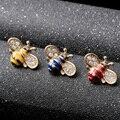 Mdiger Moda Jóias Esmaltado Cristal Bee Broche Pin Banhado A Ouro Abelha Animal Collar Pin Broches 10 Pçs/lote das Mulheres