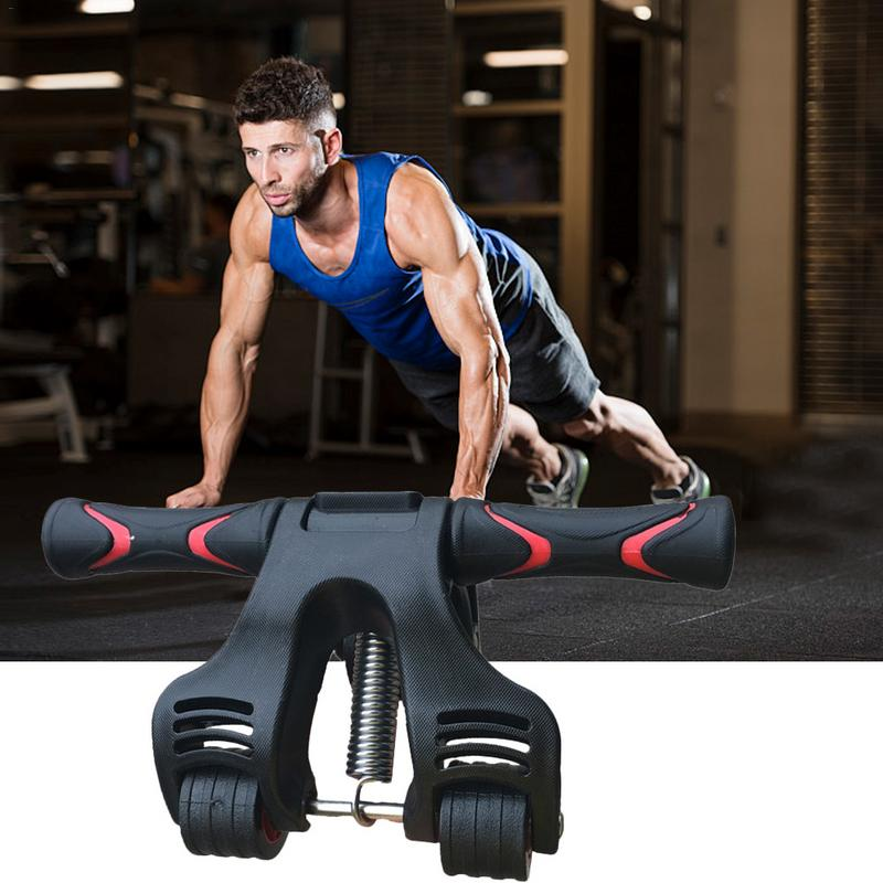 Three wheeled belly wheel spring folding abdominal muscle wheel Home Gym Roller for Core Training and Workout with Knee Pad