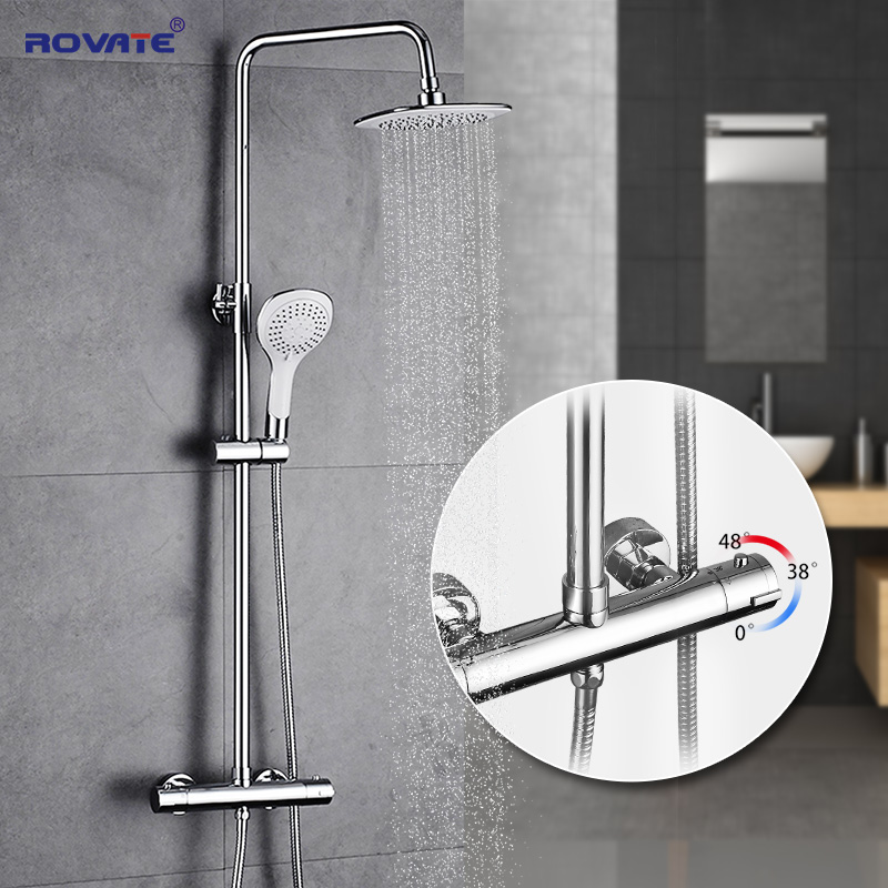 ROVATE Bathroom Thermostatic Shower Set With Hand Sprayer Wall Mounted Bath Faucets Chrome thermostatic valve wall mounted 8 shower sprayer with hand shower chrome finish