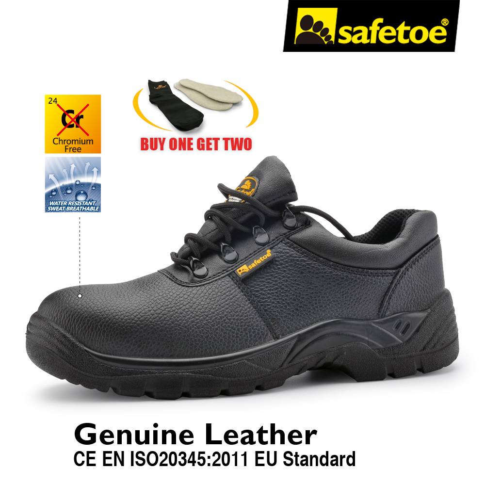 Fashion Black Men Style Work Boots Safety Shoes Extra Wide Steel Toe Anti-static  Breathable Water Resistant Cow Leather leather men steel toe cap work safety shoes anti smashing slip resistant breathable winter boots
