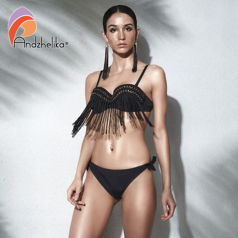 d3a29c0b07fc Andzhelika Bikini Women Swimsuit 2018 Summer New Tassel Metal Swimsuit Sexy  Brazilian Push Up Swimwear Bathing Suit Monokini