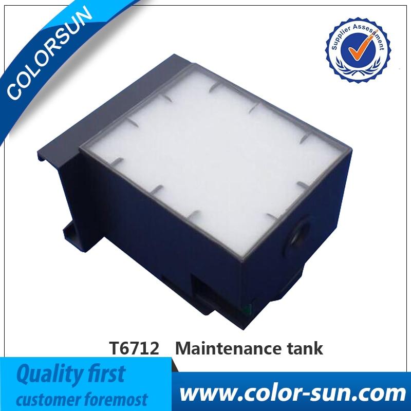 ФОТО NEW T6712 Waste Ink Tank Maintenance Tanks with Chip For Epson Wf-8010dw Wf-8090 Wf-8090dw wf-8510 wf-8590 Printer