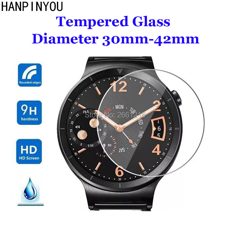 For Diameter 30mm - 42mm Smart Watch Tempered Glass 9H 2.5D Premium Screen Protector Film 23 31 32 33 34 35 36 37 38 39 40 41 Mm