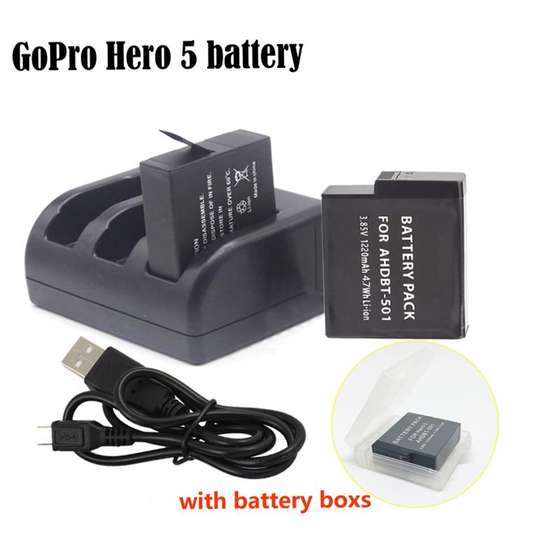 Prix pour 2 pcs gopro hero 5 batterie bateria hero5 gopro 5 batterie + 3-slot chargeur pour gopro go pro hero5 hero 5 caméra AHDBT-501
