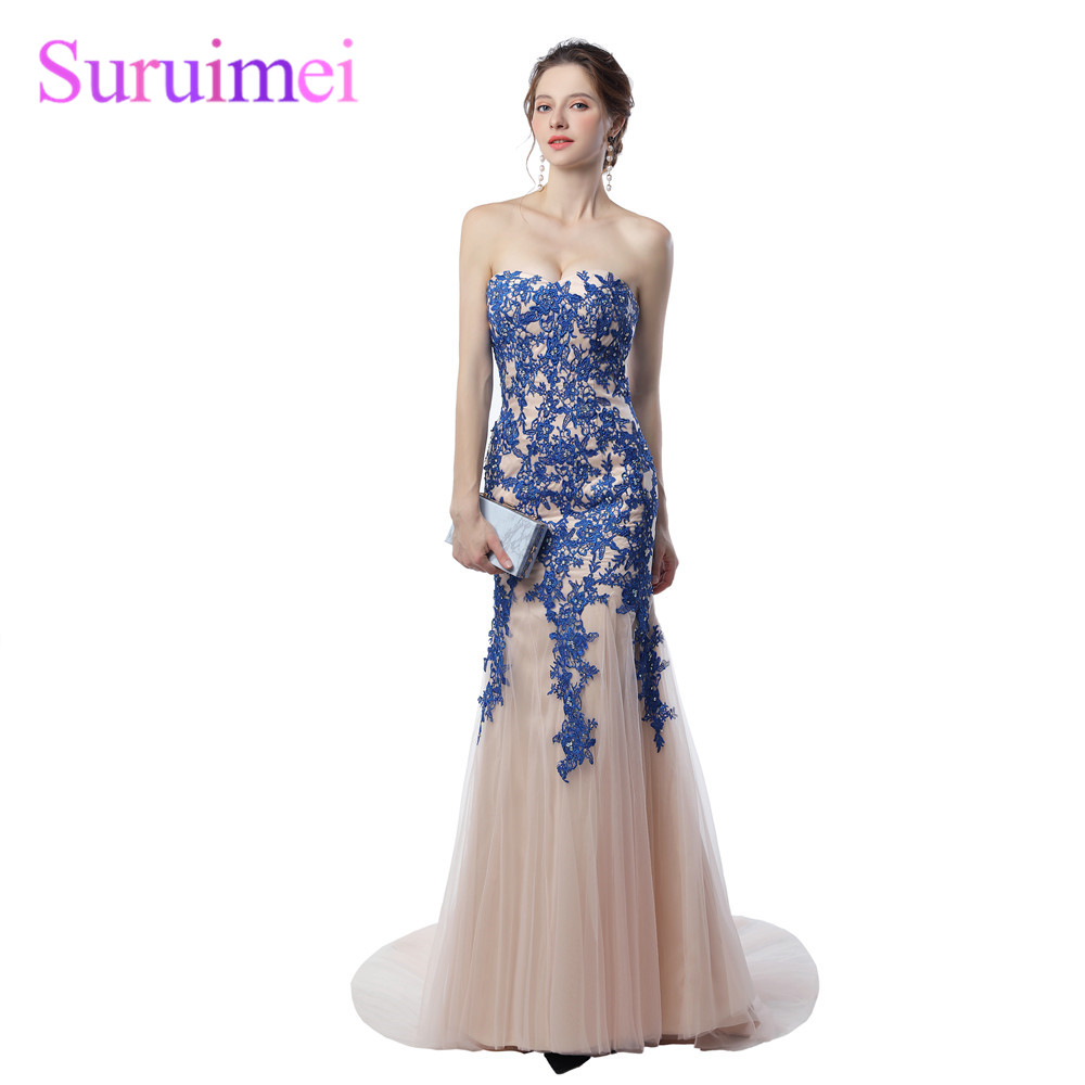 2019 New Real Photo Sexy Sweetheart Long Prom Dresses Off The Shoulder With Beading Lace Tulle Mermaid Evening Dress Hot Sale