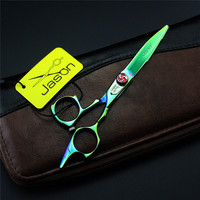 5.5 Inch Personalized Green Hair Scissors Barber Cutting Shears Salon Barber Shears Kit with Bag Professional Hairdressing