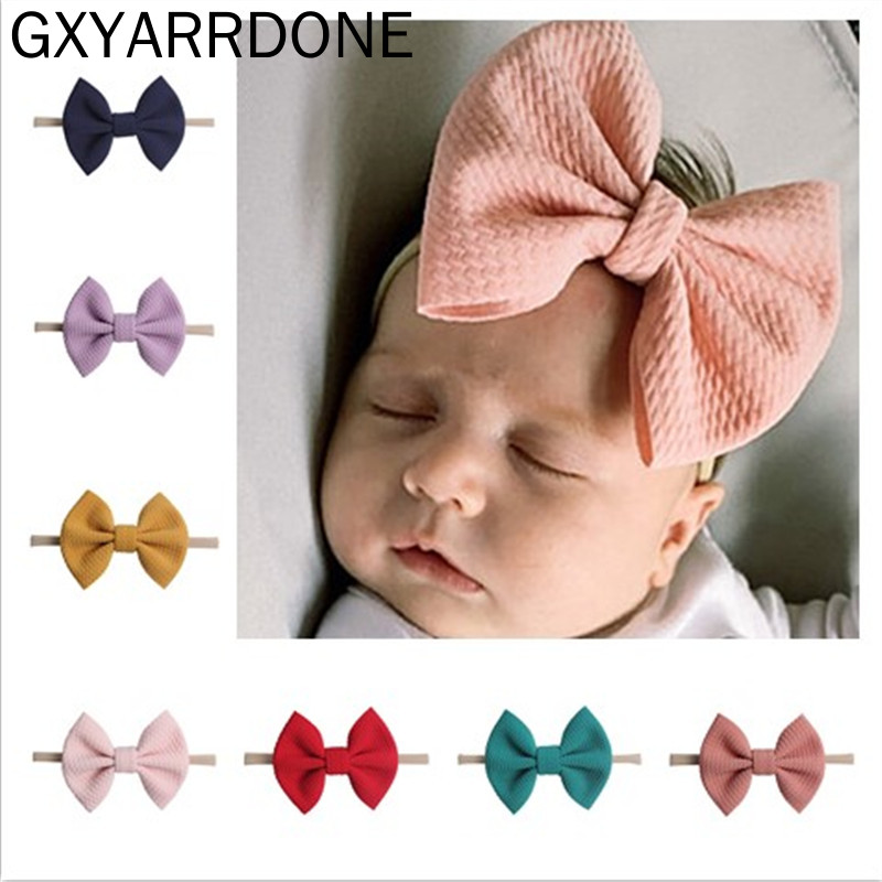 1pcs Baby Girls Nylon Headband Soft Solid Elastic Hair Bows Vintage 2019 DIY Hair Accessories For Girl Decoration   Headwear