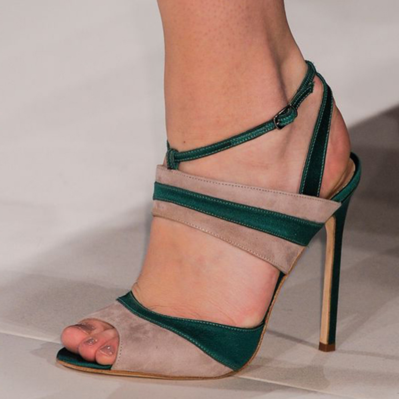 SHOFOO shoes, fashion novelty free shipping, light coffee color dark green cashmere leather, 11 cm stiletto sandals.SIZE:34 45