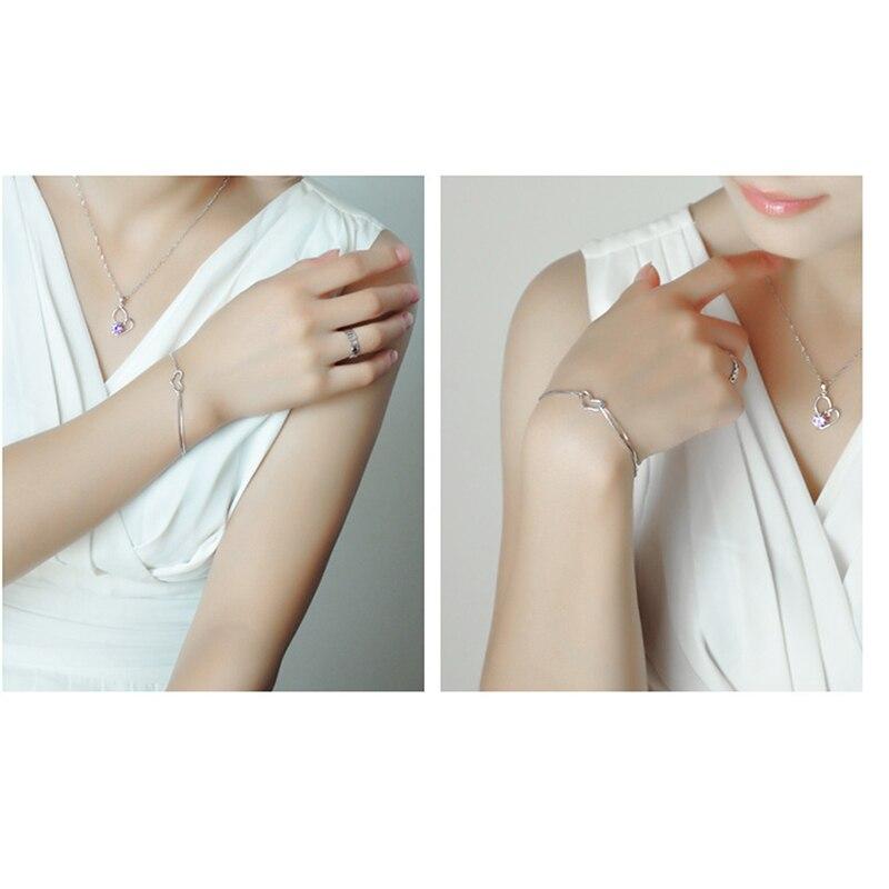 Nueva pulsera del encanto del corazón del amor para las mujeres plata  plateada moda joyería diseño Simple estilo romántico regalo 19 56d1516f3dd