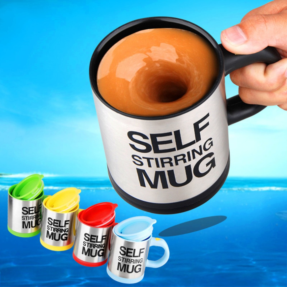 Hot Sale 5 colors Stainless Steel Lazy Self Stirring Mug Auto Mixing Tea Milk Coffee Mugs Cup Office Home Gift