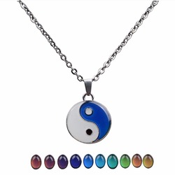 JUCHAO Mood Necklace Taiji Bagua Yinyang Pendant Gothic Necklace Temperature Control Color Change Necklaces for Women Men