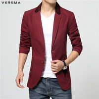 VERSMA 2017 Brand Khaki Blazer Men Masculino Slim Fit Stage Costumes for Singers Stylish Mens Suits Blazers Casaco Masculino 6XL