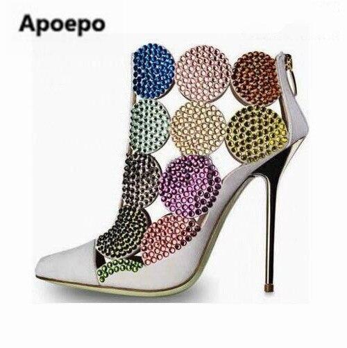 2017 partei schuhe kristall pumpt dünne fersen high heels schuhe frauen reißverschluss zehe mischfarbe knöchel stiefel für mädchen größe 34-42