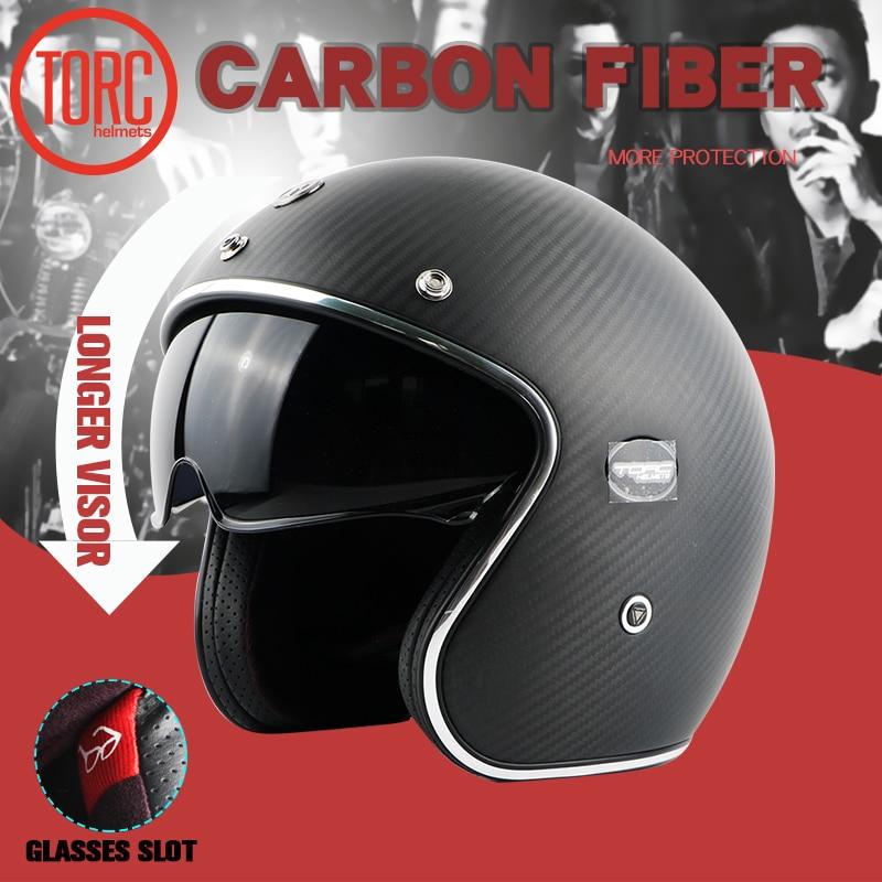 TORC brändi süsinikkiust MOTO kiiver casco capacetes vintage jet - Mootorrataste tarvikud ja osad - Foto 1
