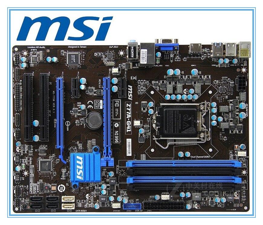 D'origine carte mère MSI Z77A-G41 LGA 1155 DDR3 pour i3 i5 i7 cpu 32 GB USB3.0 SATA3 Z77 Desktop motherboard Livraison gratuite