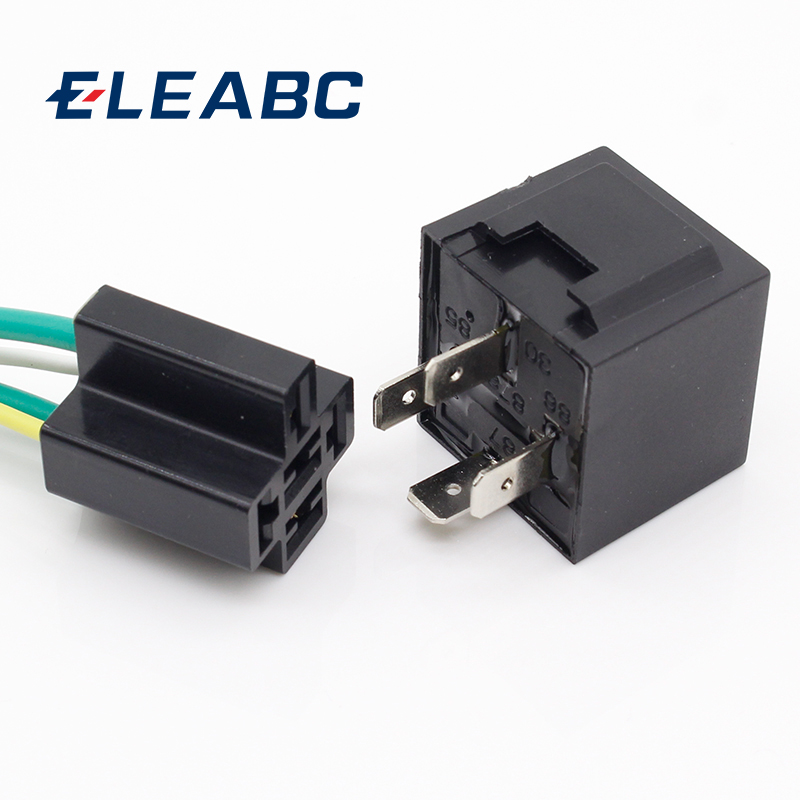 1 Pair 12V 12Volt 40A Auto Automotive Relay Socket 40 Amp Relay & Wires