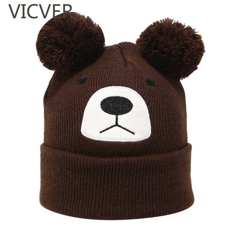 Winter   Beanie   Hat Kids Girls Boys Bear Ear Warm Cap Children Pom Pom Woolen Caps   Skullies     Beanie   Baby Knit Hats Cute Crochet Hat