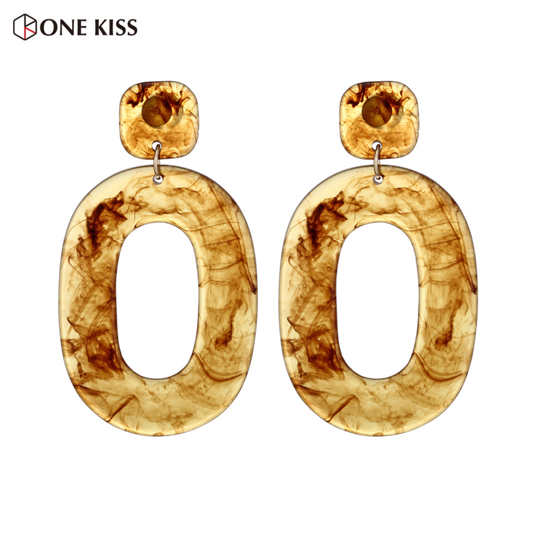 New Fashion Acrylic Resin Oval Drop Earring for Women Boho Vintage Brown Exaggerated Geometric Dangle Earring Jewelry Brincos