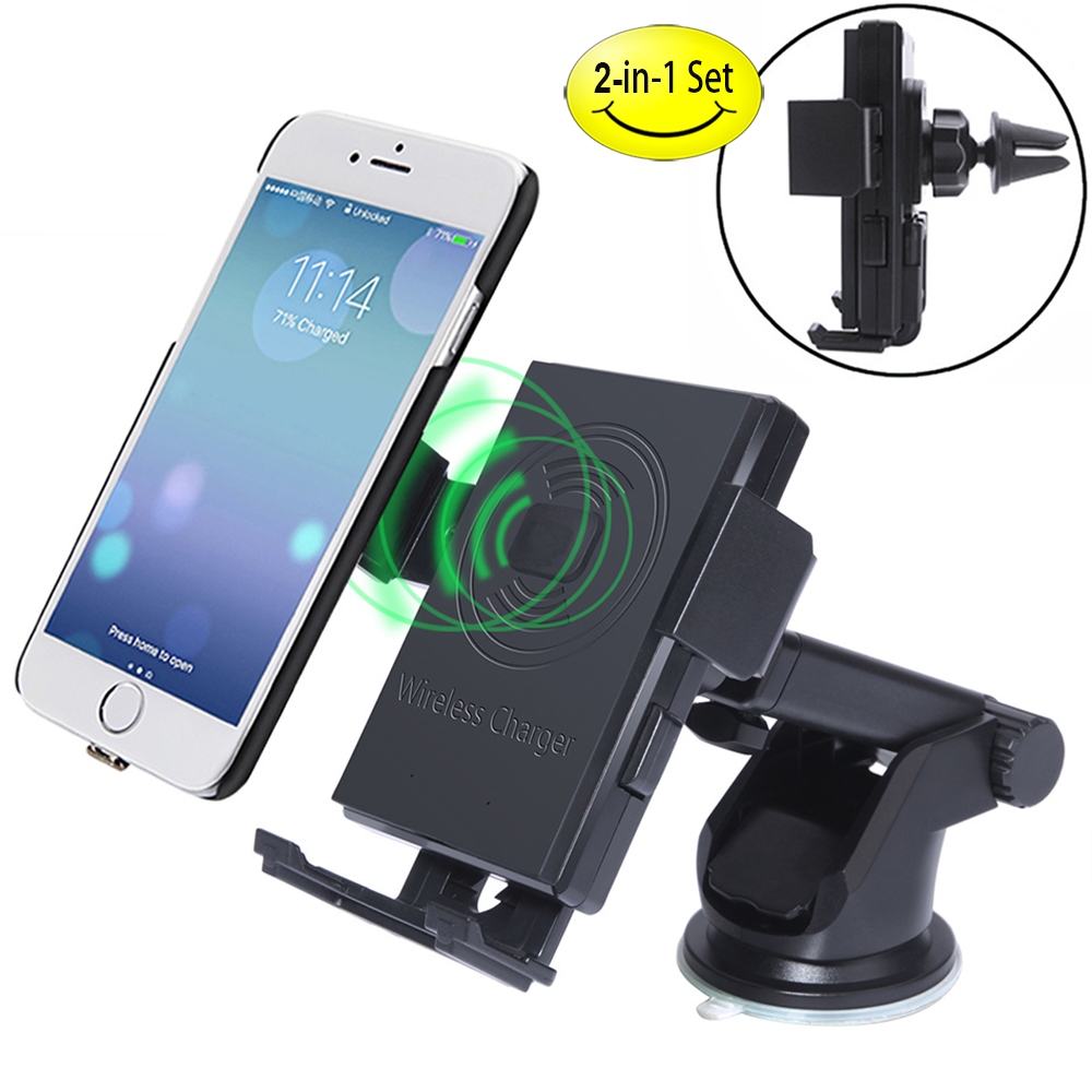 Qi Car Wireless Charger 2 in 1 Car phone mount, Air Vent ...