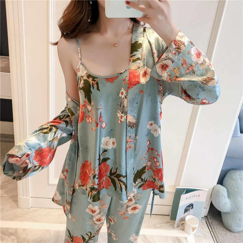 Daeyard 3 шт., Шелковый пижамный комплект, принт, ночное белье, пижама, домашний костюм, женское сексуальное белье, Пижама для невесты, атласное кимоно, цветочный Халат