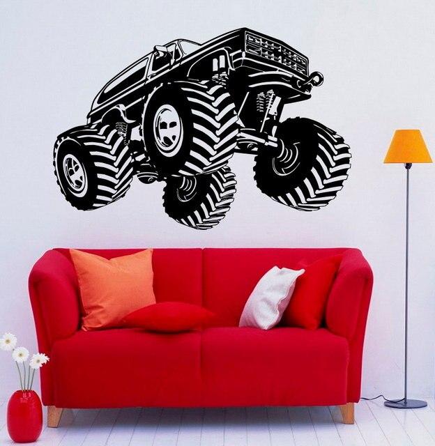 Vinilos Parede Monster Truck Wall Decal Vinyl Wall Sticker For Living Room  Boys Bedroom Decor Kids