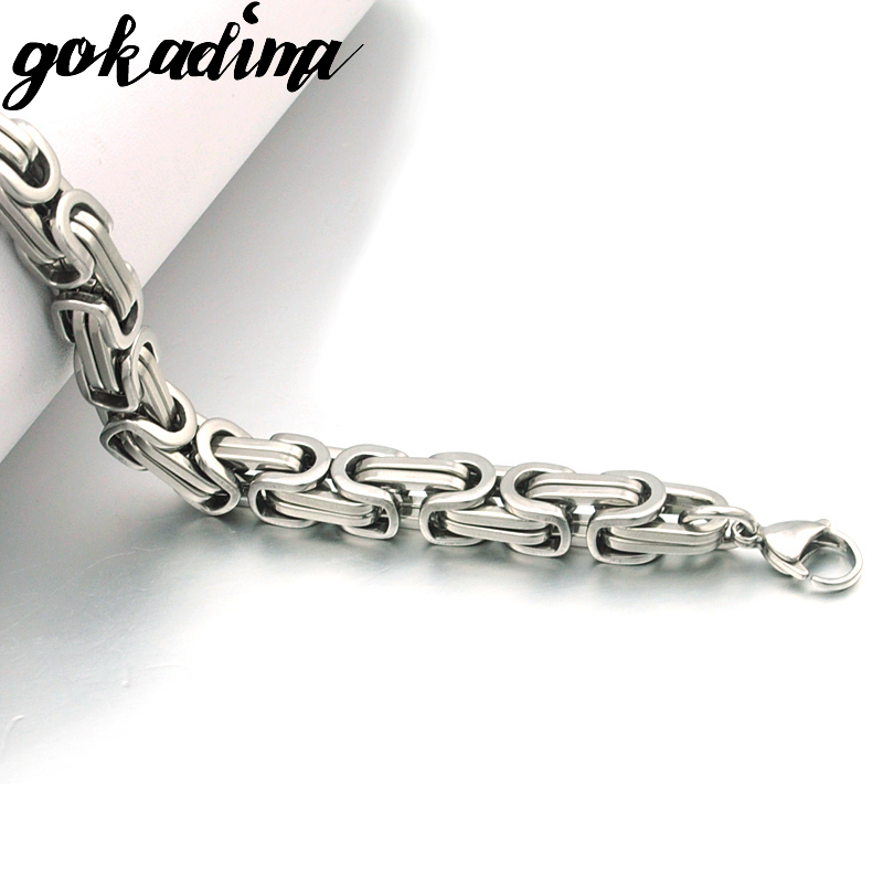 Silver Colour Stainless Steel bracelets Link Byzantine Chain Bracelet For MEN 6