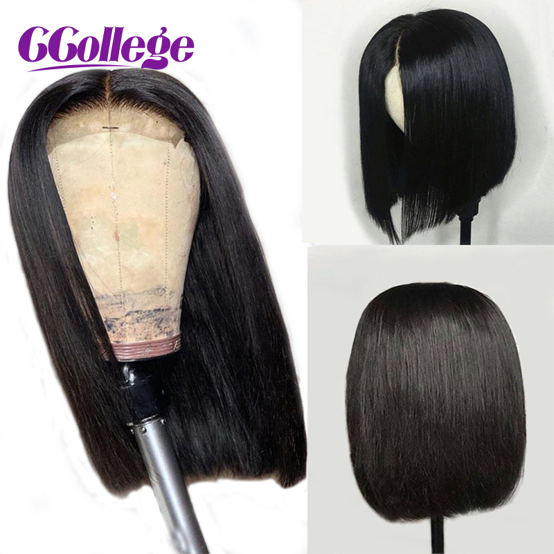 Closure Wig Human-Hair Lace Straight Bob Glueless Women Peruvian Black 4x4 for 150-%