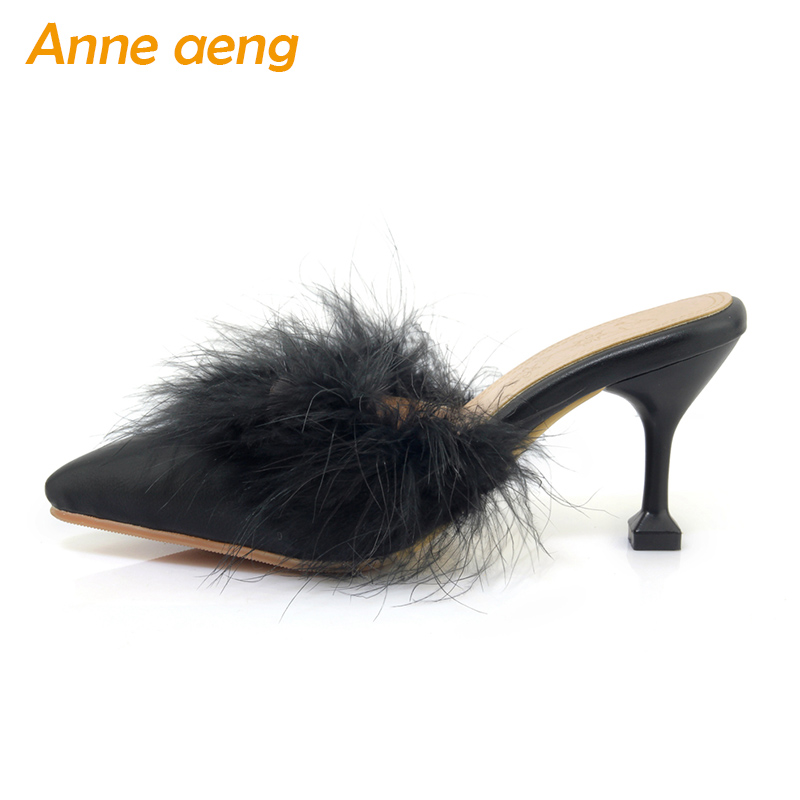 2018 new spring summer women flippers with fur thin high heel pointed toe sexy mules ladies slides outdoor women shoes