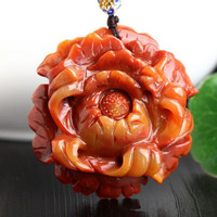 TJP natural china HUANGLONG jade peony flower carved pendant Qiao color peony flower Sweater chain jade pendant necklace
