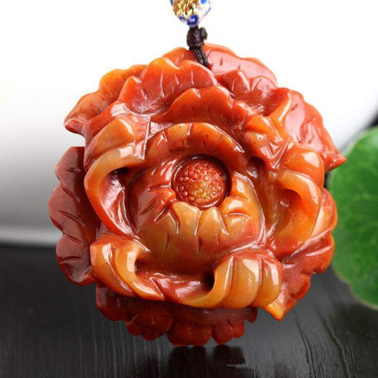 TJP natural china HUANGLONG jade peony flower carved pendant Qiao color peony flower Sweater chain jade pendant necklace qiao fox qiao fox dm