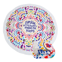 Colorful Round Beach Throw Towel Decorative Mandala Tapestry Indian Yoga Mat Tassels Tablecloth Circle Blanket for Beach Pool throw towel yoga mat decorative round beach towel newest indian mandala round elephant tapestry wall hanging summer beach