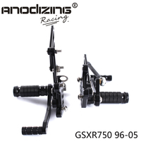 Full CNC Aluminum Motorcycle Adjustable Rearsets Rear Sets Foot Pegs For SUZUKI GSXR750 1996 2005