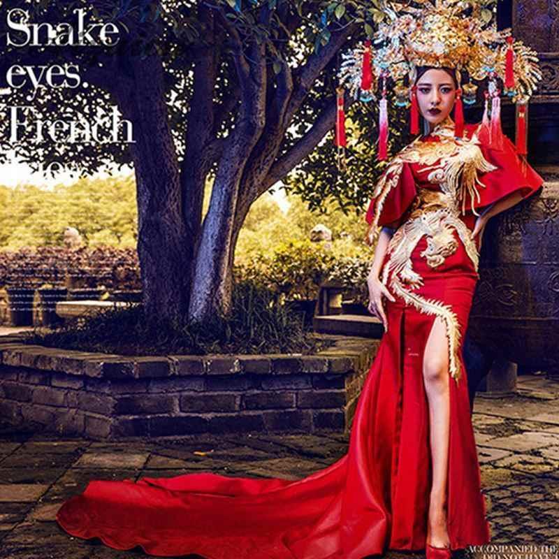 Womens Chinese Style Embroidery Cheongsam Hem Split Long Dresses Evening