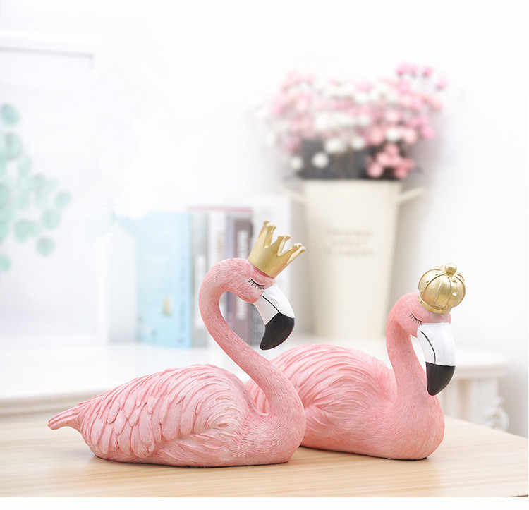1PC Ins Fashion Desk Decoration Big Flamingo Ornaments Decorative Figurines Home Decor Resin Craft Wedding Lovers JL 204