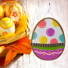 Wooden Easter Eggs Corrugated Iron Hanging Board Garden Plate Easter Decoration