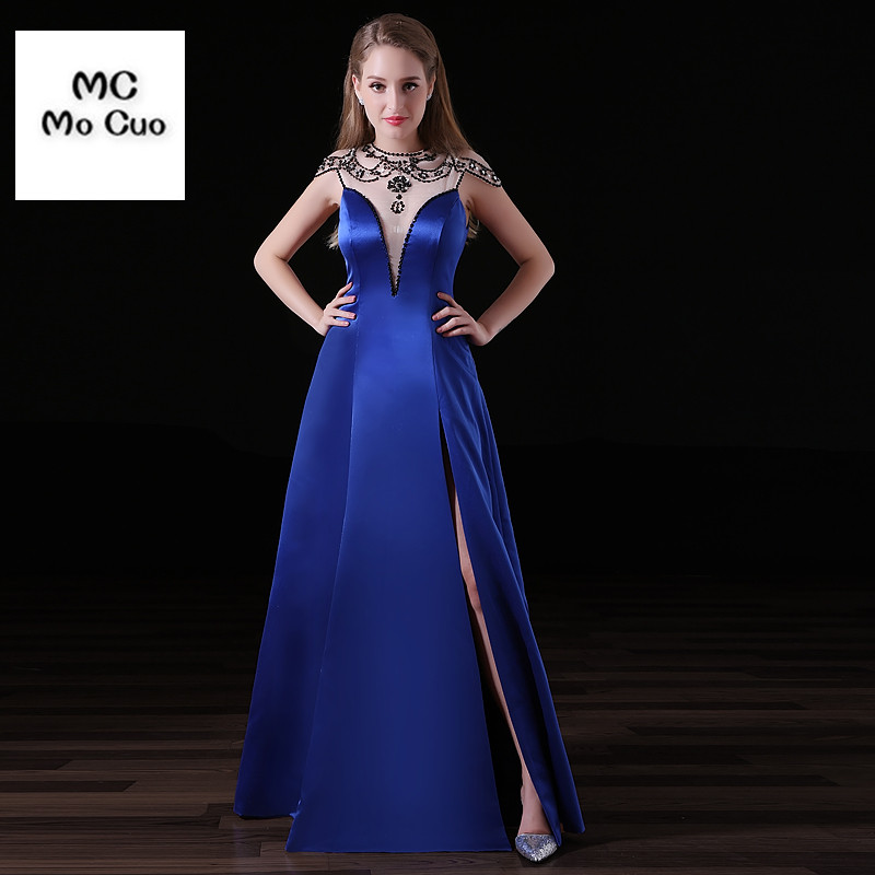 abendkleider 2017 See Though Long Evening Dresses with Crystals Beaded Cap Sleeves Hard Satin Royer Blue