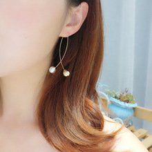 Korean Star The Same Paragraph Fashion Imitation Pearl Tassel Earrings Wholesale Jewelry Female Long Section Vintage