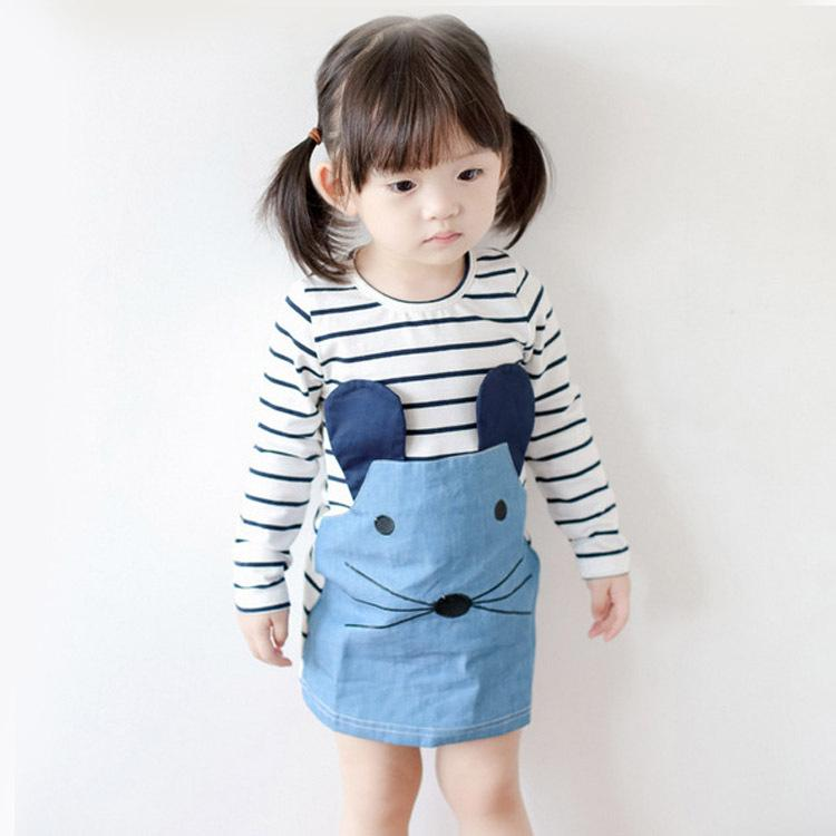 2017 Brand Autumn and winter Girl Dresses Long Sleeve Cute Mouse Children Clothing Kids Girls Dress Striped Denim Kids Clothes fashion brand autumn children girl clothes toddler girl clothing sets cute cat long sleeve tshirt and overalls kid girl clothes