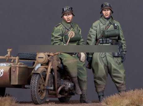 1/35 Resin Figures WWII Motor Army 2pcs/set (no Motorcycle) Model Kits