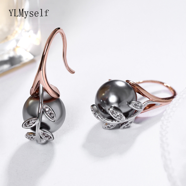 Dropshipping Rose gold and White color Grey pearl & cubic zircon crystal Wholesale cheap jewelry lots Dangling earrings
