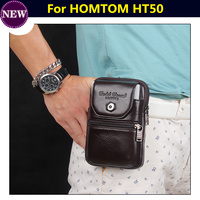 Genuine Leather Zipper Pouch Belt Clip Waist Purse Case Cover For HOMTOM HT50 5 5 Mobile
