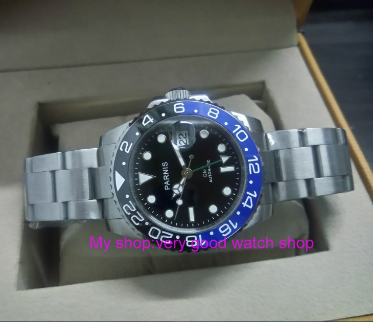 f962fc9af9f 40 MM PARNIS GMT movimento Automático Auto-Vento blue   black bezel ...