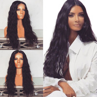 Fashion Black Wavy Long Cruly Wigs Front Lace Wig heat resistant Synthetic Wig for Black Women Hair Styling 2M81211