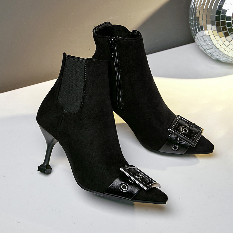 Fermeture Mode Grande Main Chaussures Taille Pointu Pu Talons vert Mnixuan Nouvelle Courtes Bout Sexy Bottines Éclair Pour Noir 2018 Mince Hauts À Hiver Femmes sCBoQthrdx
