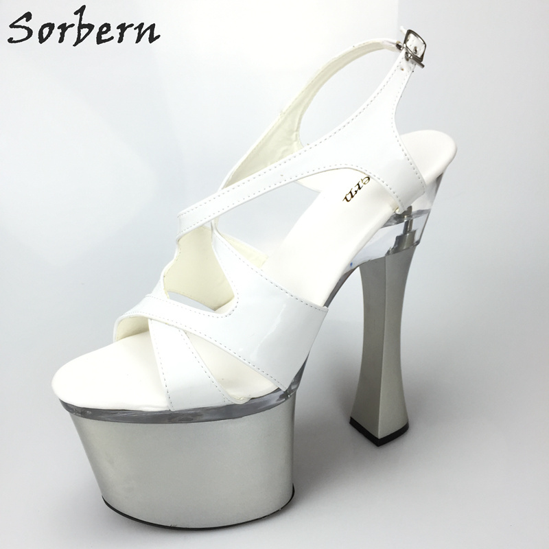 Sorbern White Cross Strap Chunky High Heel 18Cm/8Cm Platform Gladiator Style Shoes Ladies Party Slingbacks Sandalias Mujer 2018Sorbern White Cross Strap Chunky High Heel 18Cm/8Cm Platform Gladiator Style Shoes Ladies Party Slingbacks Sandalias Mujer 2018