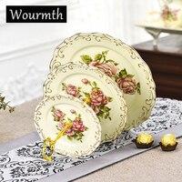 Wourmth英国ストライプデザイン食器フルーツプレート骨中国家庭用ceamic料理ナッツトレイギフト中国磁