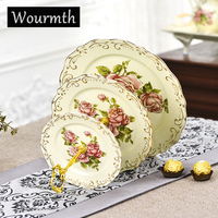 Wourmth British Striped Design Tableware Fruit Plate Bone China Household Ceamic Dishes Nuts Tray Gift China Porcelain