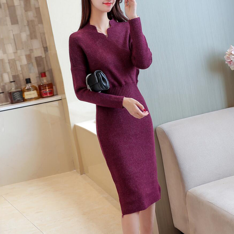 2018 Autumn Winter Womens Fashion Sexy Slim Cross V-Neck Sweater Dresses Female Long Sleeve Knitted Warm Thicken Sweater Dress 6