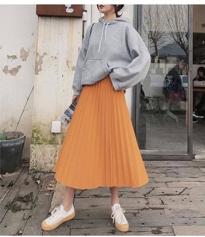 Surmiitro Elegant Solid Midi Pleated Skirt Women 19 Autumn Winter Ladies Korean High Waist A-line School Long Skirt Female 6