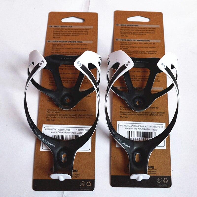 2 pcs/lote vente chaude pleine fiber de carbone bouteille cage porte - bouteille accessoires vélo avec le paquet fini mat 2 couleurs 16 g